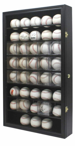 40 Baseball or Baseball Cube Display Case Wall Cabinet, UV Protection, Lock