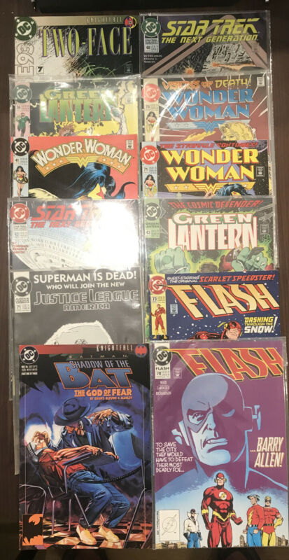 Lot Of 12 DC comic Books (wonder Woman, Star Trek, Flash, Batman)