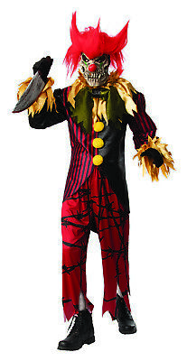 Crazy Man Costume (Crazy Clown Mens Adult Evil Jester Killer Circus Halloween)