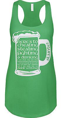 Irish Toast Cheating Stealing Fighting Drinking St Patricks Day Womens Tank Irish Drinking Toasts