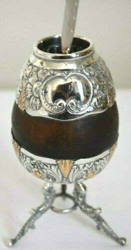 IND ARGENTINA Plata 800 Mate Gourd and Bombilla Straw Silver With Feet