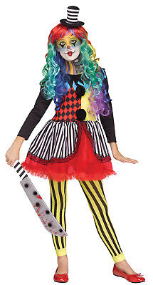 Freakshow Girls Child Evil Circus Jester Clown Halloween Costume