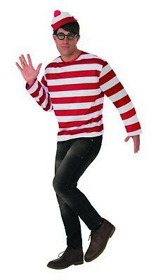 Wheres Waldo Mens Adult Book Character Halloween Costume (Halloween Costumes Waldo)