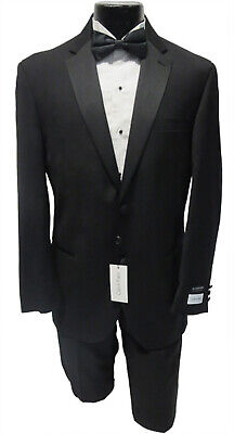 New 46R Mens Calvin Klein Madrid 2 Button Tuxedo Jacket w/ Flat Front Pants Suit Calvin Klein 2 Button Tuxedo