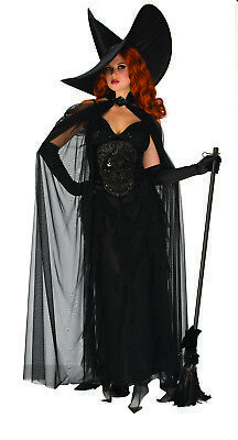 Elegant Böse Hexe Damen Erwachsene Gothik Halloween Kostüm