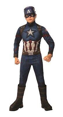 Deluxe Captain America Costume (Captain America Avengers Endgame Boys Child Deluxe Marvel Superhero)