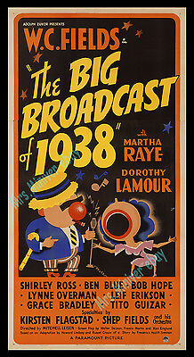 1-of-a-Kind THE BIG BROADCAST Of 1938 W.C. FIELDS Movie Poster BOB HOPE'S 1st!!!