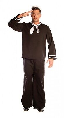 Sailor In The Navy Man In Uniform Marine Adult Men's Costume XXL Plus Size - Man In Black Costume
