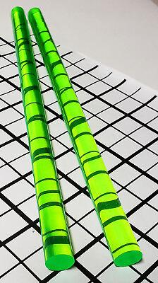 2 Pcs 58 Diameter Clear Green Fluorescent Acrylic Plexiglass Rod 12 Inch Long