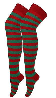 Red Green Stripe Elf  Christmas Over The Knee Socks Xmas Fancy Dress Stockings
