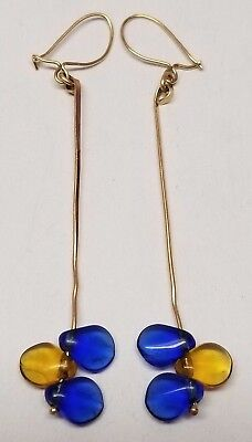 Vintage Ed Levin Modernist 14k Gold Dangle Earrings 2.23g Designer - Unsigned