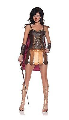 Sexy Conqueror Vinyl Lace Warrior Girl Mini Dress Adult Halloween Costume Xl - Girl Warrior Costume