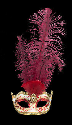 Mask from Venice Colombine IN Feathers Ostrich Lina Red 1450 VG10