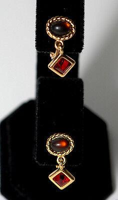 Vintage Gold Clip On Monet Ladies Earrings Brown Red Gem Jewelry