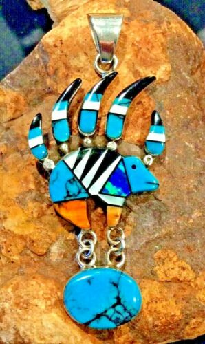 Native American Indian Jewelry Sterling Silver Turquoise Inlay Bear Claw Pendant
