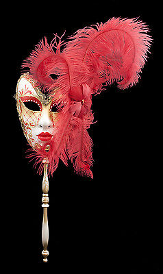 Mask from Venice in Stick and in Feathers Red and Golden 1432 VG7