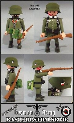 SOLDADO ALEMAN LANDSER GERMAN SOLDIER PLAYMOBIL CUSTOM WW2 GUERRA MUNDIAL RIFLE