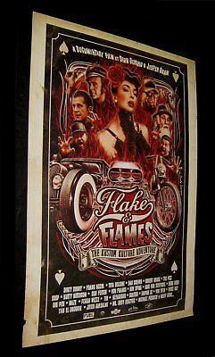 Original FLAKES & FLAMES Ultra Rare One Sheet KUSTOM KULTURE LEGENDS Near Mint