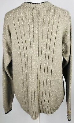 Columbia Sportswear Mens Sweater Medium Cable Knit Crew Neck Ribbed Tan - Columbia Sportswear Classic Sweater