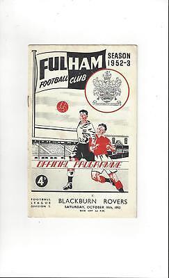 Fulham v Blackburn Rovers Football Programme 1952/53