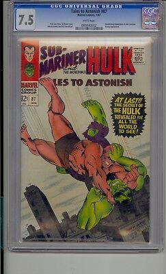 Tales To Astonish # 87 Cgc 7.5 Hulk Unter- Mariner Boomerang Neu Kostüm Weiß