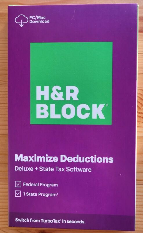 H&R BLOCK TAX SOFTWARE DELUXE + STATE 2020 Retail Key Card (No Disc) Ships Fast