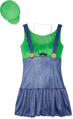 Mario Luigi Womens Halloween Costumes (Pretty Plumber Womens Adult Super Mario Luigi Halloween)