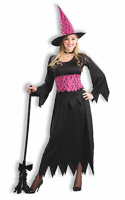 Lacy Pink Wicked Witch Black & Pink Sorceress Halloween Costu