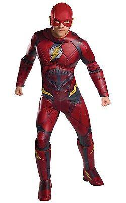 Justice League Mens Deluxe Flash Adult Dc Superhero Halloween Costume](Cheap Men Costumes)