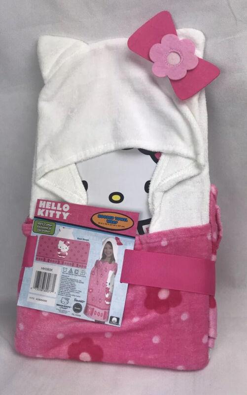 Hello Kitty Cotton Hooded Towel Wrap Bath Beach Pool NEW