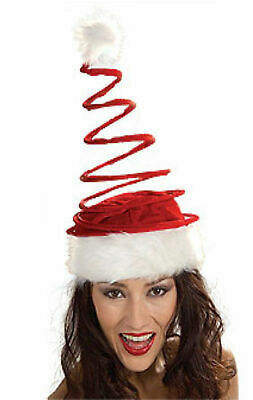 Funny Santa Hat (Funny TALL SPRING SANTA HAT Coil Adult Christmas Cap Elf Toy Claus Red White)