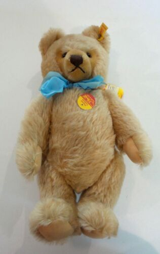 """VINTAGE STEIFF BEIGE MOHAIR 15"""" JOINTED COLLECTOR BEAR, #0201/41 with GROWLER"""