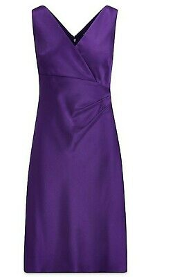 Lauren Ralph Lauren Satin Ruched Dress Size 8, Purple Stretch New $178