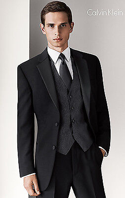 Black Calvin Klein Mens Fashion 2 Button Tuxedo Prom Package Flat Front Pants Calvin Klein 2 Button Tuxedo