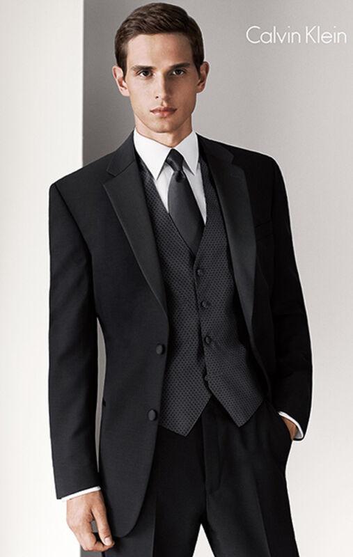 64L Long Black Mens Designer Calvin Klein 2 Button Wool Tuxedo Jacket Big & Tall
