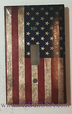 Flag Switch (US USA United State Flag Light Switch Power Outlet Wall Cover Plate Single Dub )