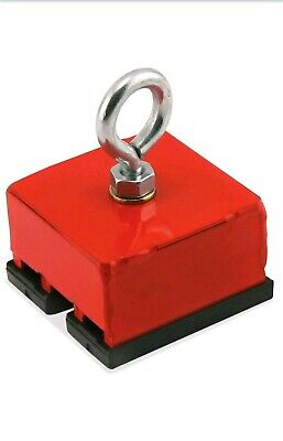 Master Magnetics 07541 Red Heavy Duty Magnetic Hold Retrieving Base - 100 Lbs