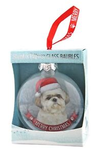 Shih Tzu Glass Bauble Christmas Decoration/Ornament Gift/Present Dog