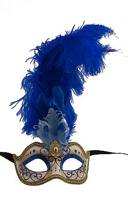 Mask from Venice Colombine in Feathers Ostrich Blue Lina 1439 VG10
