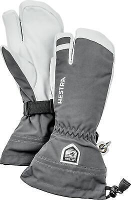 2020 Men's Hestra Army Leather Heli  3 Finger Ski Gloves Size 9 Grey 30572