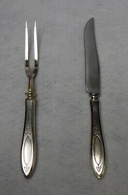Oneida silver ADAM 1917 silverplate Small 2-piece Steak Carving Knife & Fork Set