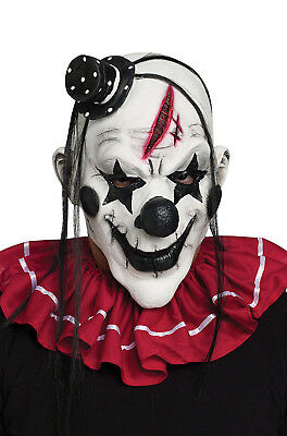 Horror Clown Mens Adult Black Evil Jester Latex Halloween Costume Mask](Mens Evil Clown Halloween Costumes)