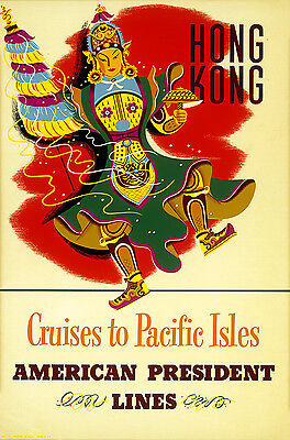 Original Vintage Travel Poster Hong Kong American President Lines Pacific Cruise