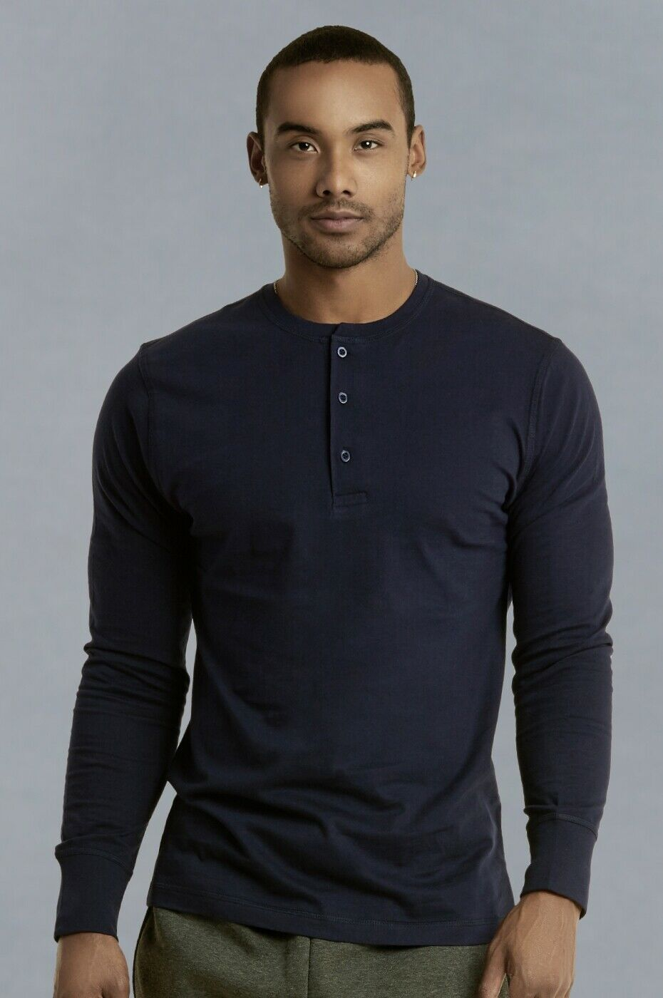 Mens Henley Long Sleeve Shirts Cotton Button Down Crew Neck Casual S M L XL XXL