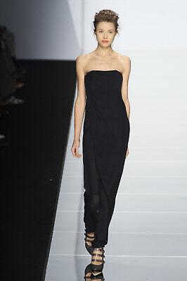 HAUTE Black Silk Drape Panel Strapless Bustier Corset Jumpsuit 40 4