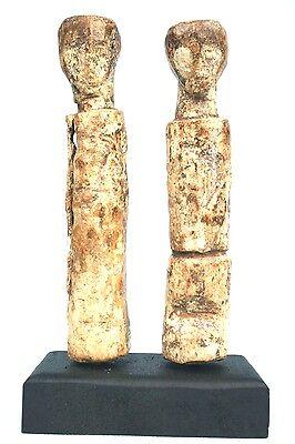 Art African - Antique & Authentic Couple Baoulé - Base Custom Made - 15,5 Cm