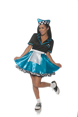 Car Hop Cutie Turquoise 50s Retro Soda Shop Diner Waitress Women's Costume SM-XL