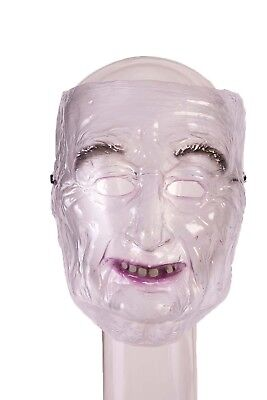 Transparent Old Man Mens Adult Creepy Grandpa Costume Mask