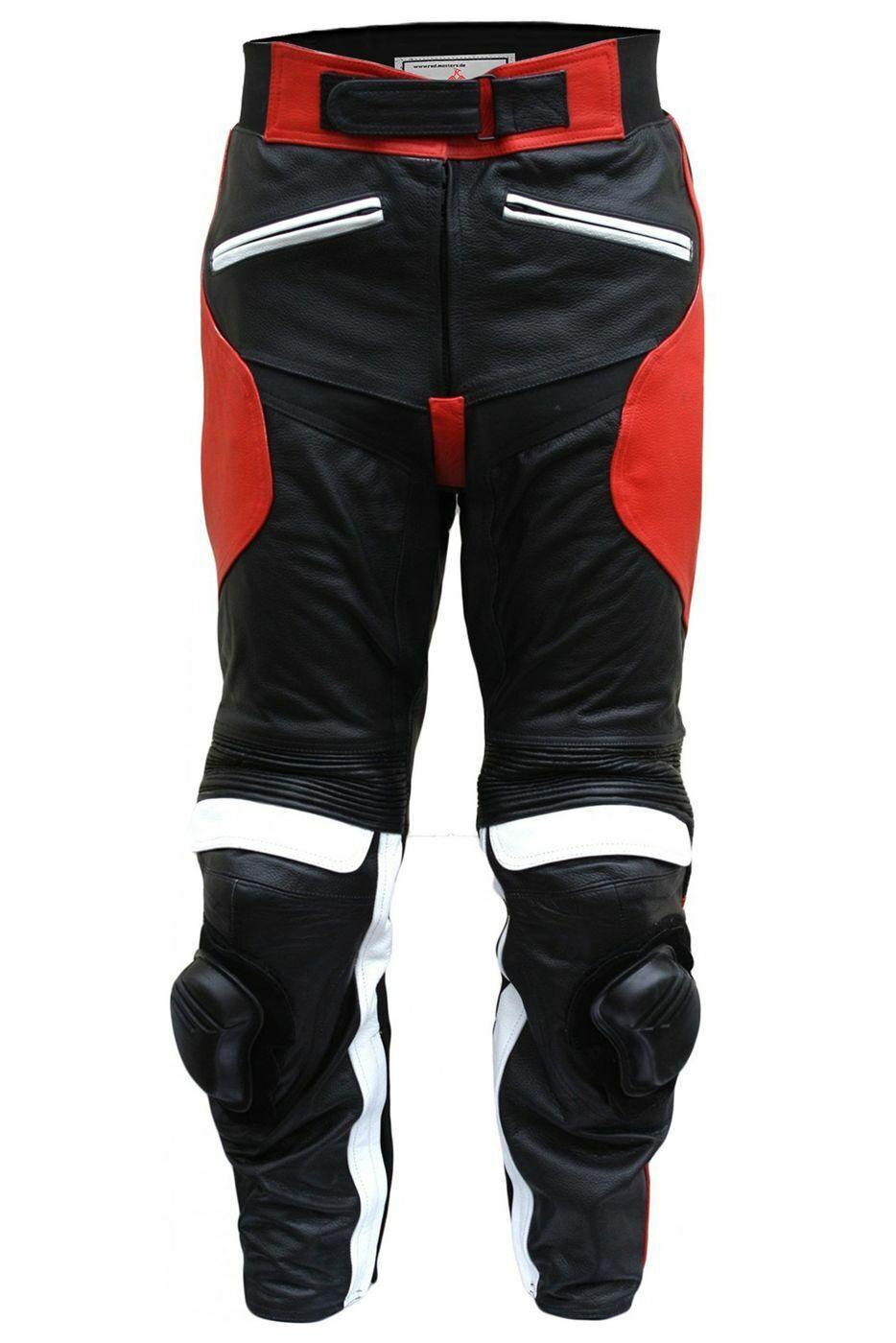 German Wear, Damen Motorrad-Lederhose Biker Hose Rindsleder Schwarz/Rot/Weiß