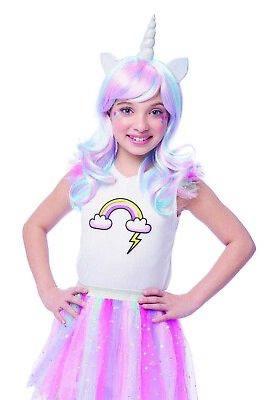 Unicorn Costume Wig (Rainbow Unicorn Girls Child Fantasy Halloween Costume)